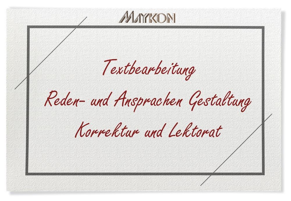 Makon Textbearbeitung Reden und Ansprachen - Gestaltung und Korrektur